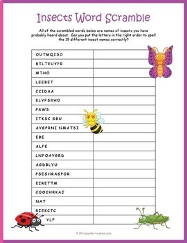 Bugs and Insects Bundle - 3 Vocabulary Puzzles