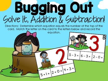 Insects Solve It Addition & Subtraction
