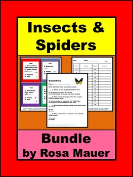 Insects Task Cards and Worksheets Science Bundle