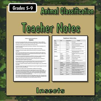 Insects Teacher Notes & Assignment