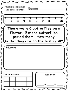 insects theme addition subtraction word problems kindergarten first. Black Bedroom Furniture Sets. Home Design Ideas