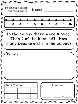 Insects Theme Addition & Subtraction Word Problems (Kindergarten/First)
