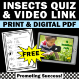 FREE Science Insects Activity { Video and Quiz }