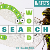 Insects Word Search Puzzle - 3 Levels Differentiated