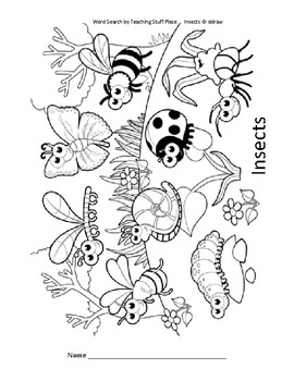Insects Word Search Puzzle – Grades 1-2 Vocabulary