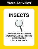 Insects - Word Search Puzzles, Word Scramble,  Secret Code,  Crack the Code