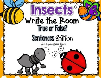 Insects Write the Room - True or False Sentences