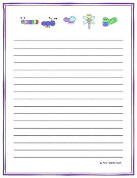 Writing Paper Templates - Insects Theme