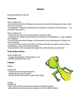 Insects - a cross curriculum unit