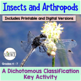 Insects and Arthropods Dichotomous Key Activity (Classification and Taxonomy)