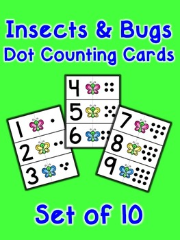 Insects and Bugs Dot Counting Cards - Set of 10