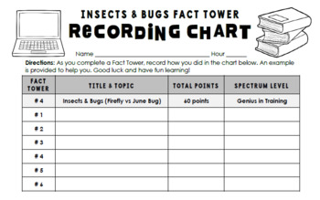 Insects and Bugs Fact Towers Activity