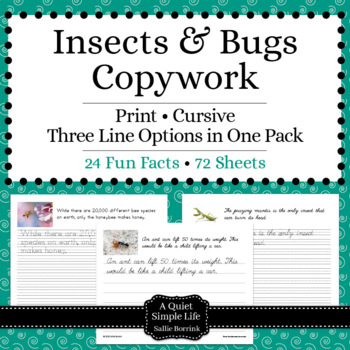 Insects and Bugs Unit - Copywork - Cursive - Handwriting