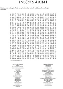Insects and Their Kin Word Search Puzzles