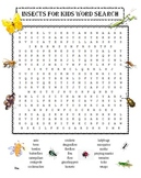 Insects for Kids Word Search Puzzle