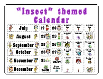 """""""Insects"""" themed Calendar Set"""