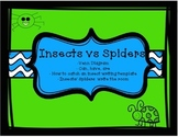 Insects vs Spiders Venn diagram, can have are, write the room