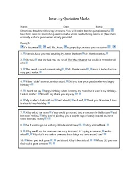 Inserting Quotation Marks Activity Worksheet for Critical Thinkers