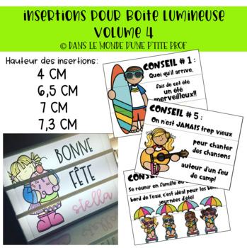 Insertions pour boite lumineuse : Vacances d'été // French lightbox inserts