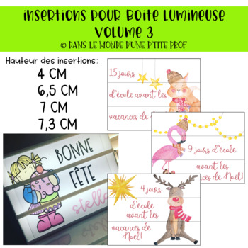 Insertions pour boîte lumineuse décompte Noël // French lightbox inserts