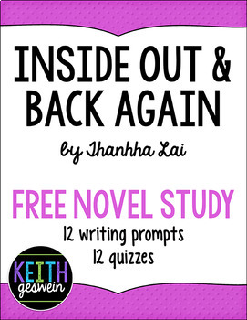 Inside Out & Back Again FREE Novel Study: 12 Writing Prompts and 12 Quizzes
