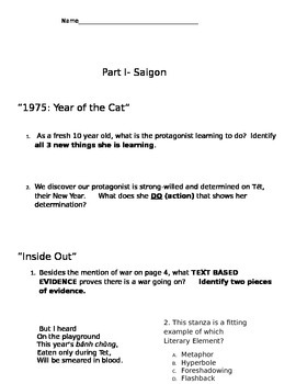 Inside Out & Back Again Study Guide for Part I