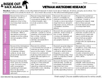 Inside Out & Back Again - Vietnam Multigenre Research Menu
