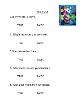 Inside Out Comprehension Questions