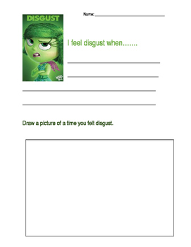 Inside Out Disgust writing activity