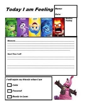 Inside Out Emotion Think Sheet