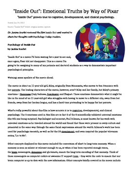 Inside Out Essay: Personality and Emotions