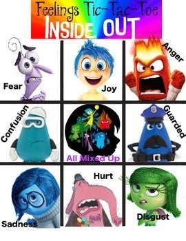 """Inside Out"" Feelings Tic-Tac-Toe"