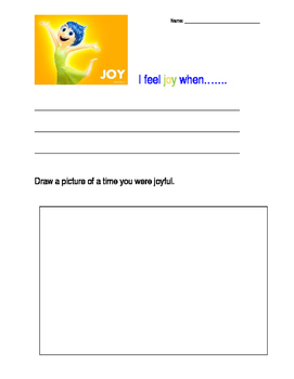 Inside Out Joy writing activity