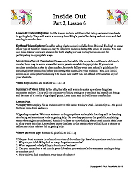 Inside Out Lessons 11-20 (Social-Emotional Lessons)
