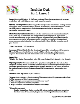 Inside Out Lessons 6-10 (Social-Emotional Lessons)