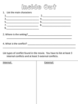 Inside Out Literary Elements Worksheet