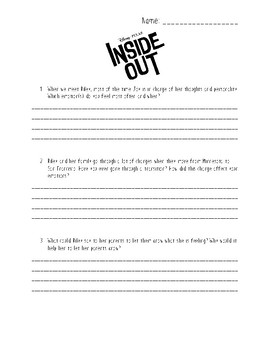 Inside Out Movie Response Worksheet By Msboothscreativeclassroom