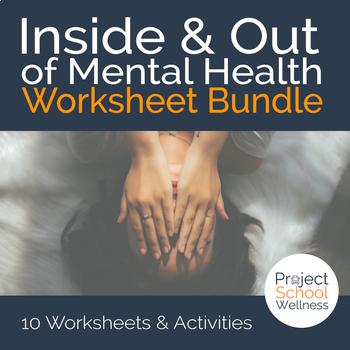 Mental Health Worksheet Bundle - Inside & Out of Well-being - 10 Worksheets