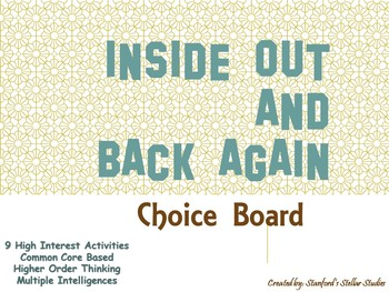 Inside Out and Back Again Choice Board Tic Tac Toe Novel Activities Menu Project
