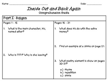 Inside Out and Back Again Comprehension Guide