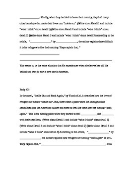 Inside Out and Back Again Essay Outline