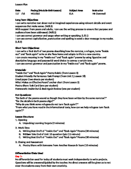 Inside Out and Back Again Module 1 Unit 3 Lesson 6