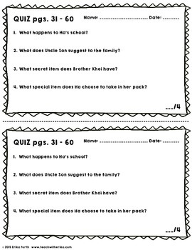 Inside Out and Back Again - Reading Check Quizzes