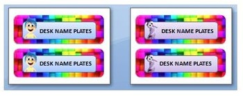 Inside Out desk, lunch and utility name plates.