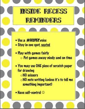 Inside Recess Reminders- FREEBIE