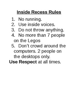 Inside Recess Rules