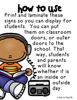 Free Inside and Outside Recess Signs