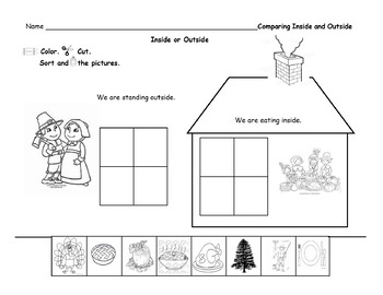 Inside and Outside Thanksgiving Sort/ Positional Words
