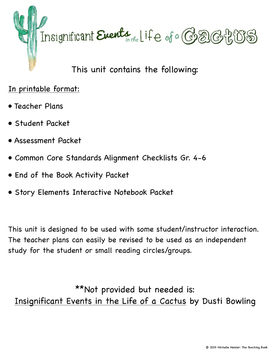 Insignificant Events in the Life of a Cactus Novel Study Unit Printable Version