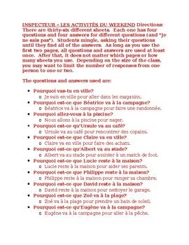 Activités du weekend (Weekend activities in French) Inspecteur Speaking activity